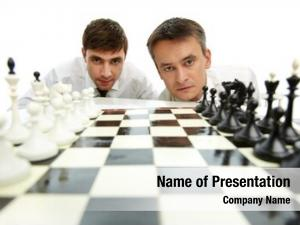 Looking two men camera chess