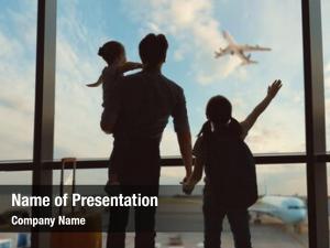 Children happy family airport