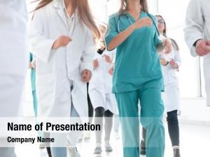 Nurses team doctors standing together