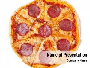 Pizza sliced salami white