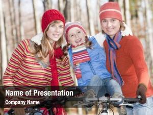 Happy autumn biking family biking