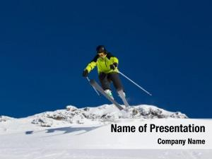 Skiing alpine skier downhill, blue