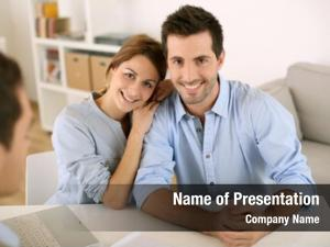 Real estate smiling couple agency