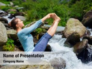 Outdoors yoga exercise woman doing
