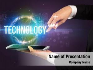 Technology close up touchscreen inscription, new
