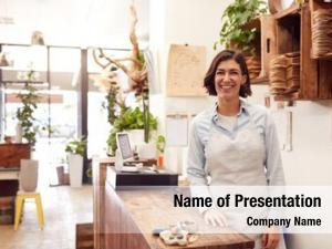 Female portrait smiling sales assistant