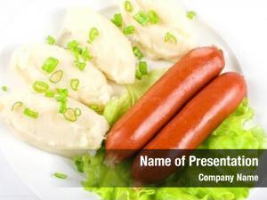 Sausage cutlets potato green lettuce