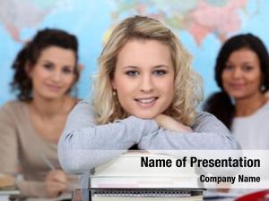 Girls three teenage class room