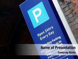 City closeup view parking sign