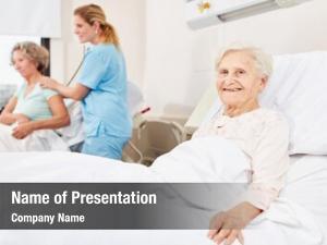 Woman happy senior hospital bed