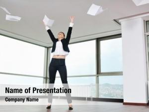 Woman young business throw papers