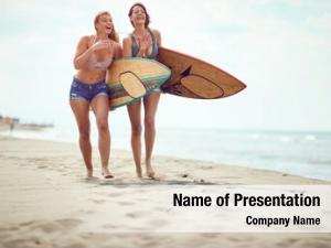 Women happy surfers beach having