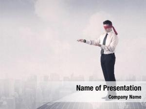 Businessman young blindfolded grey world