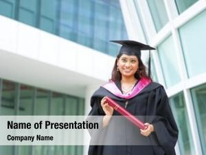 Female happy indian student her
