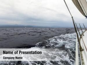 Race sailing yacht stormy sea
