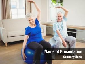 Doing senior couple stretching exercise