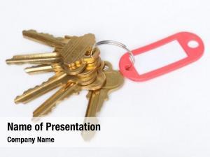 Ring brass keys red tab