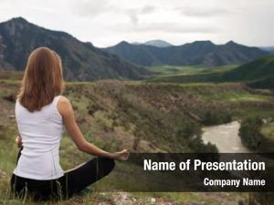 Outdoor young woman meditation