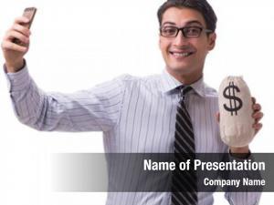 Money young businessman sack white