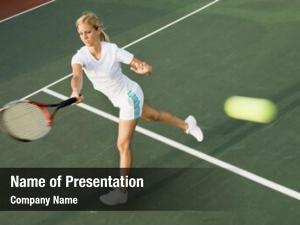 Player female tennis hitting tennis