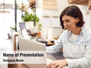 Assistant female sales working laptop