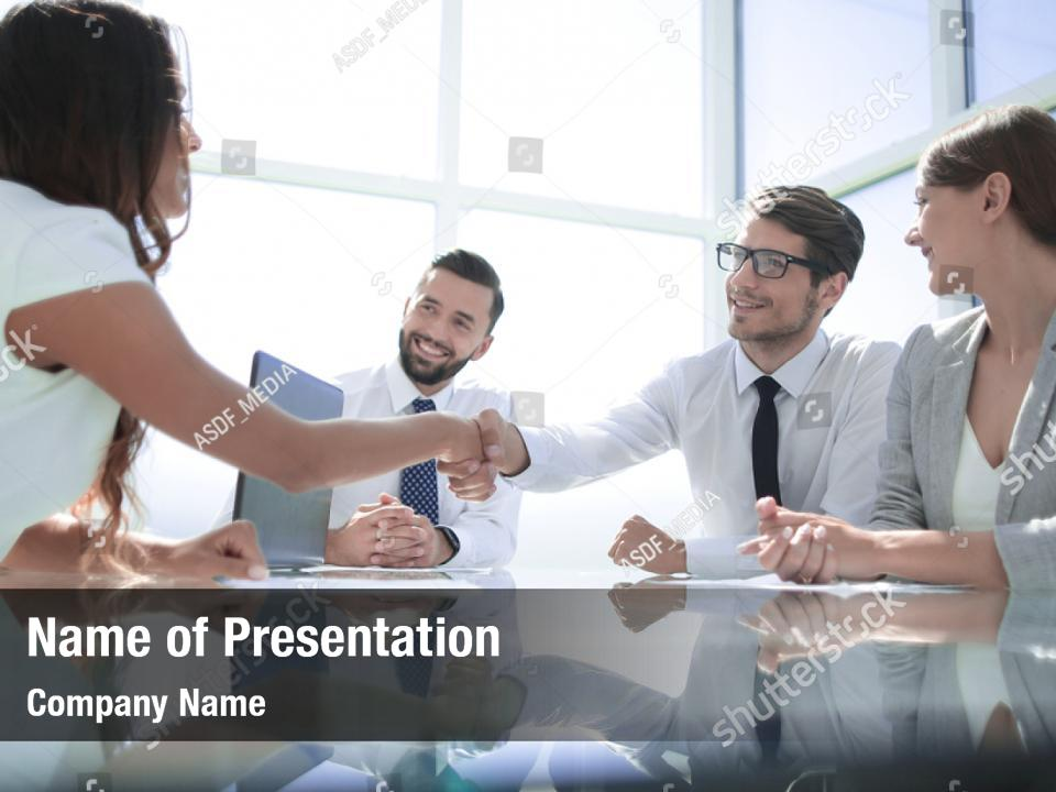 Recruitment Shaking Business Woman Powerpoint Template