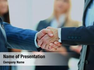Giving business man handshake