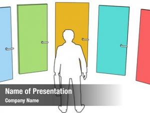Chooses business person among door