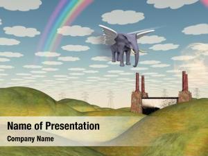 Winged fantasy landscape elephant