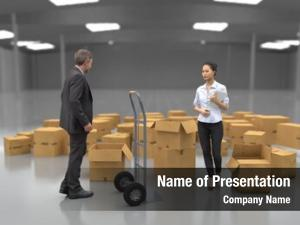 Near business people hand truck