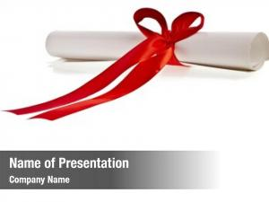 Red graduation diploma ribbon white