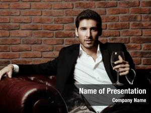 Handsome portrait sexy man drinking