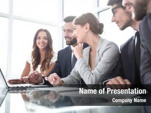 Team professional business sitting desk