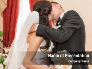 Newlyweds embraces
