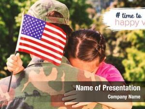 Hugging army man daughter american