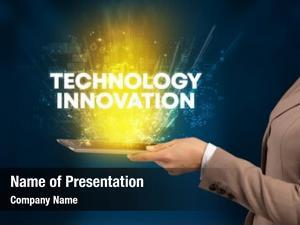 Technology close up touchscreen innovation inscription,