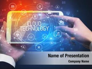 Cloud close up tablet technology inscription,