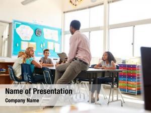 Elementary male teacher school kids