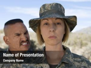 Screaming military officer female soldier