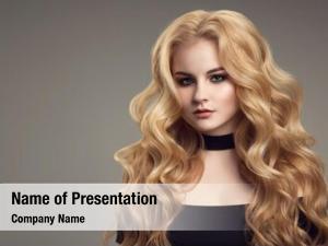 Long blond woman curly beautiful