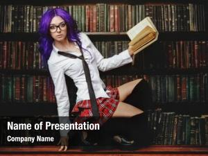Girl pretty student long purple