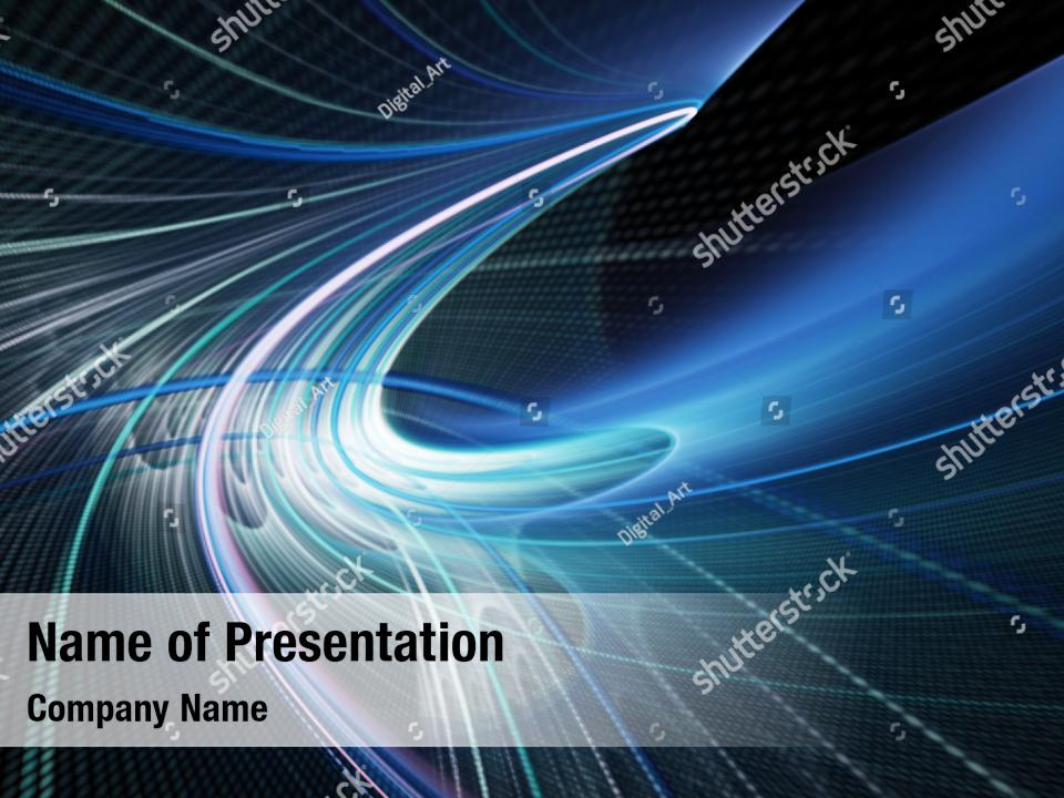 Technology black abstract blue PowerPoint Template - Technology