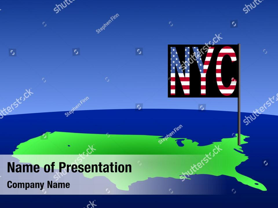 New york city outline new york PowerPoint Template - New
