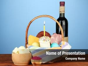 Conceptual easter basket: photo traditional