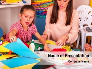 Teacher little girl woman painting