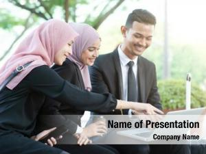 People muslim business discussion laptop,