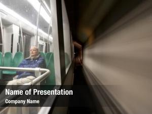 Alone man, sitting metro, driving