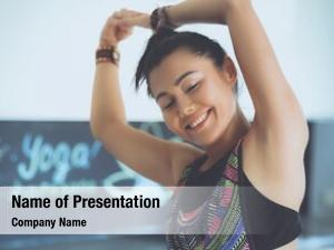 Yoga portrait smiling woman sitting