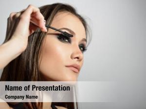 Makeup application young beautiful model