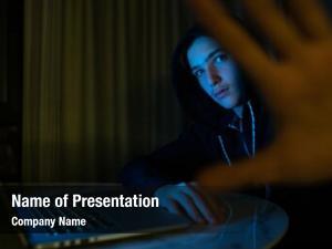 Hiding hacker laptop his face